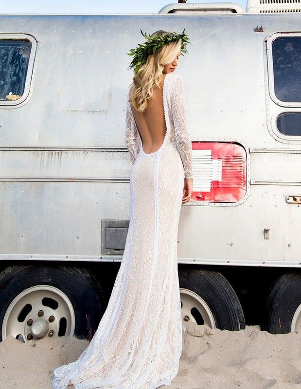 Lace Gown with Open Back. Boho Lace Gown. Floral Crowns. Beach Wedding Gowns.