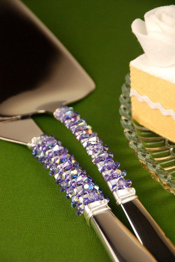 SWAROVSKI- Tanzanite purple AB. Wedding cake knife and server set by TheVintageWedding, $89.99