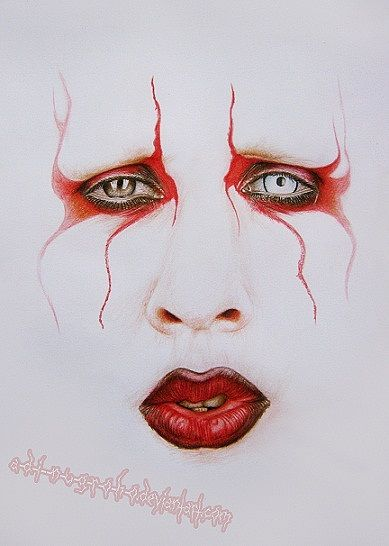 Pencil portrait of Marilyn Manson whoever did that did a really good job.