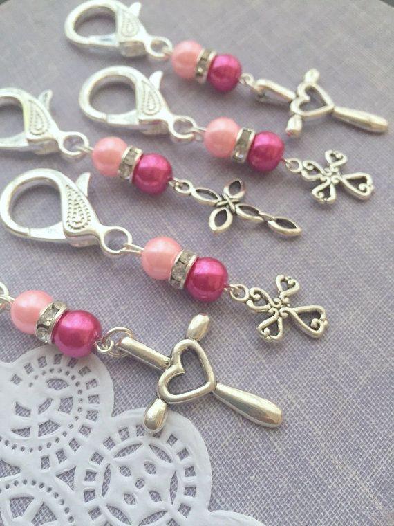 Communion, baptism, keychain, purse clip, party favor, cross charm. SET of TEN. Choose color.