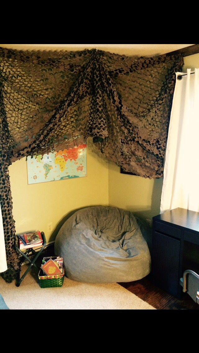 Boys military themed room before and after