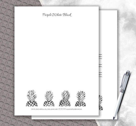 Custom Letterhead Download Pineapple Design  DIY Stationery