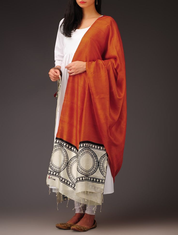 Orange CircularMotif Block Print Silk Dupatta on Jaypore.com