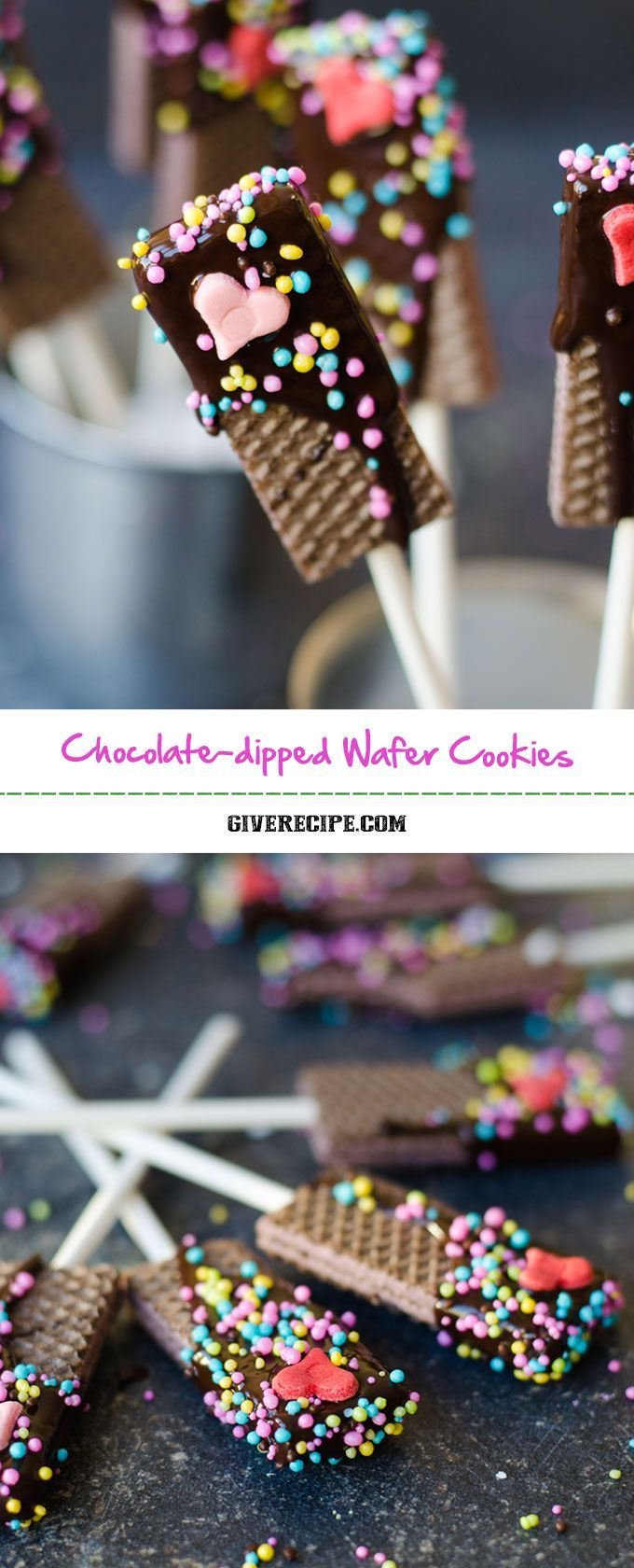 Chocolate Dipped Wafer Cookies are the easiest, cheapest, cutest and yummiest treats for special occasions like Valentine's Day. | http://giverecipe.com | #valentinesday #wafers