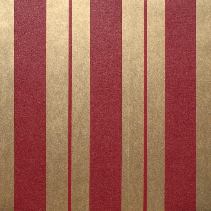 Klassiek streep behang Bordeaux/Goud bij Behangwebshop