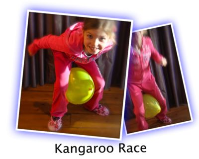 KANGAROO RACE http://www.bestpartygames.co.uk/categories/great-kids-party-games/games/kangaroo-race  This game is best played outside, unless you have a large indoor space.  It's good for sleepovers and for kids parties. You can also enjoy it for family events, such as Christmas and Thanksgiving.  GET READY You'll need - a balloon for each person playing - to mark your start line and a finish line  Get everybody on to the start line, and...
