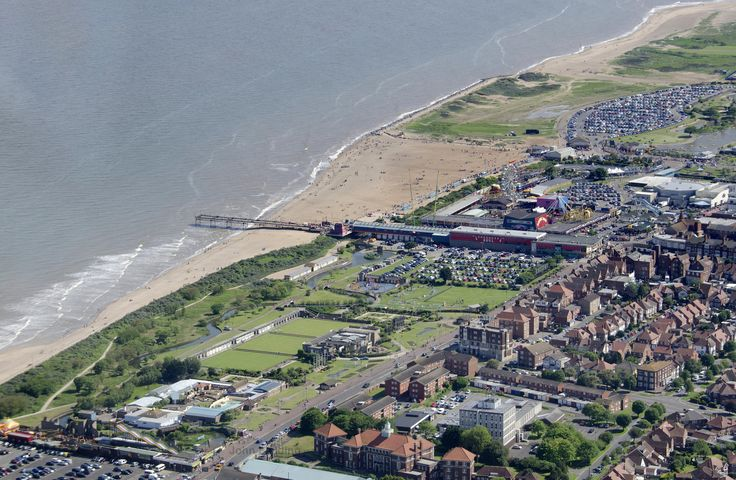 Aerial view of Skegness beach, Lincolnshire, England
