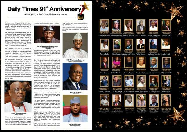 """Holding Live On 16 May Is """"Daily Times 91st Anniversary""""     The Daily Times of Nigeria (DTN) the nation's heritage newspaper has mapped out activities to mark its 91st anniversary commencing May 16 2017 with exhibition at the Abuja International Conference center.  The Anniversary committee revealed that the celebration would be flagged off with the National and Historic Exhibition an 'AA' top level exhibition with the theme: Nigeria through the Times ... at the entrance foyer ofAbuja…"""