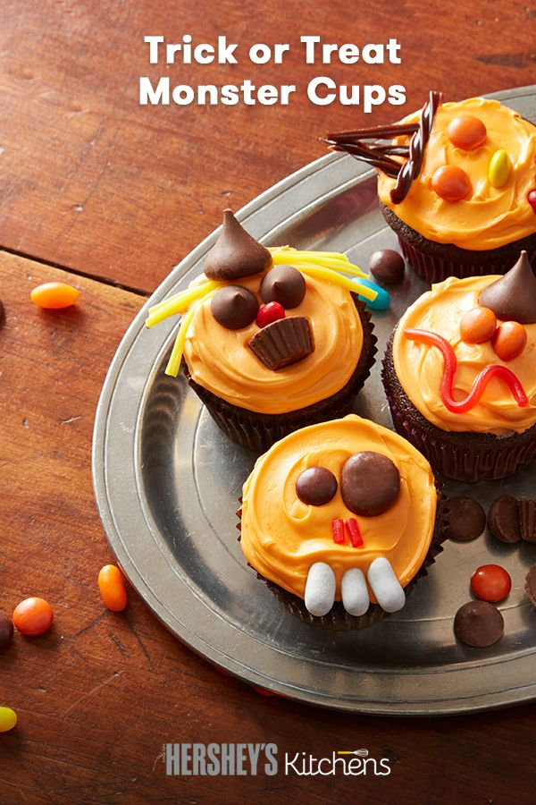 view this delicious and easy halloween inspired trick or treats monster cups from celebrate with hersheys - Halloween Inspired Cupcakes