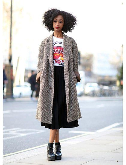 Ruth Adeniran wearing vintage coat, mum's skirt, Shopcade top, Vagabond shoes | ELLE UK