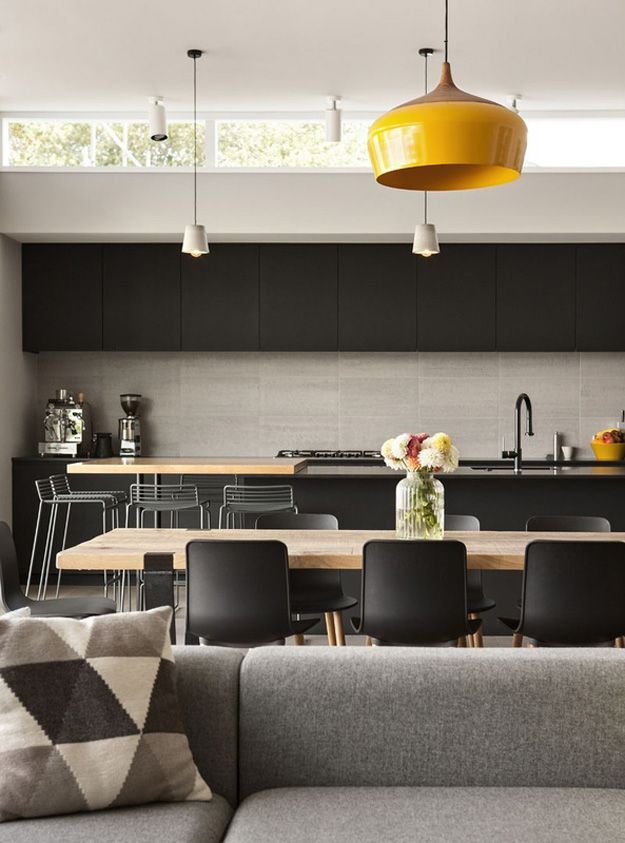 Black and grey with a pop of yellow. Interior design.