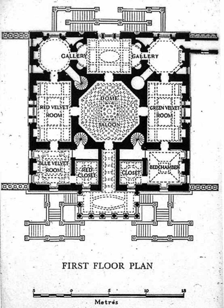 Plan piano nobile Chiswick House Middle England 1725 by