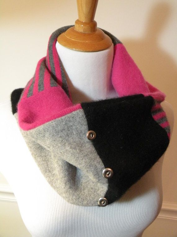 Recycled Cashmere Cowl Neck Scarf by dbdesigns59 on Etsy