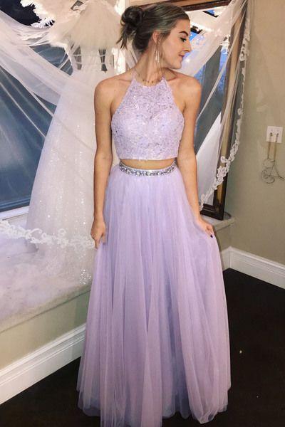 da0f9931d9c Elegant Lavender Two Piece Halter Lace Prom Dress