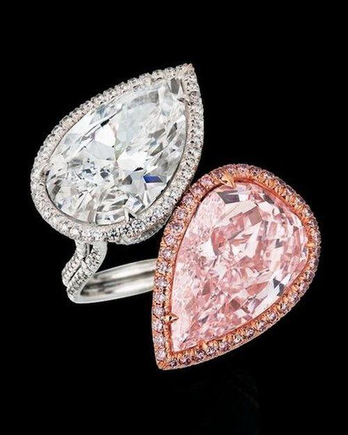 Leviev pink and white teardrop diamond ring
