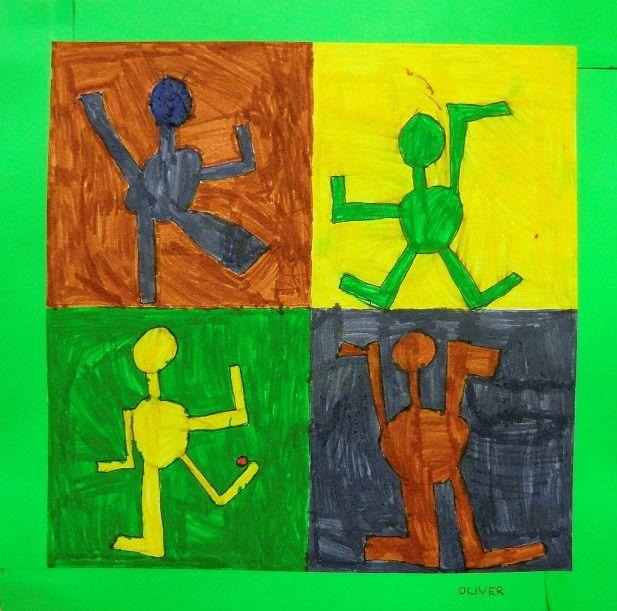 Cvičící děti- kresba tužkou a fixy