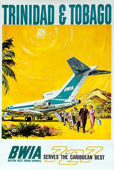 Date: ca 1960s DP Vintage Posters - Trinidad & Tobago Original BWIA The Caribbean Best 727 Travel Poster