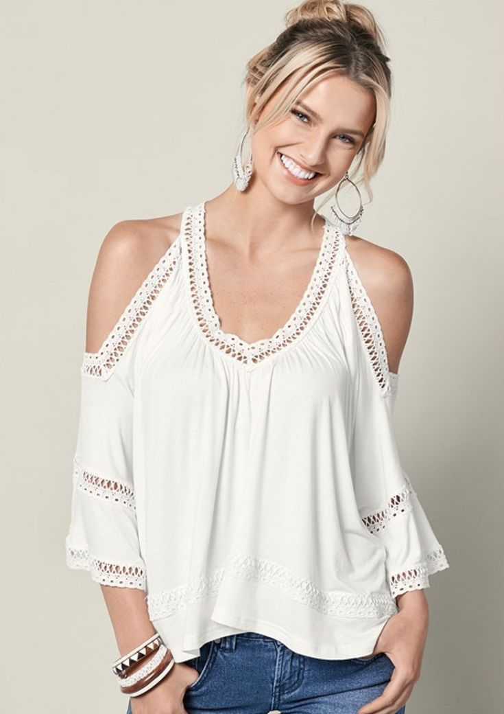 c470886d56515 Cold Shoulder Lace Trim Top Boho Outfit with Bell Bottom Jeans For ...