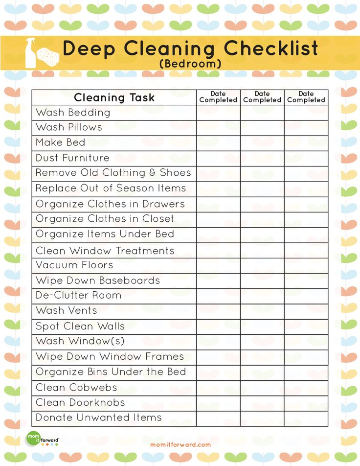 In the Organize eBook, you can get this adorable printable that will not only help you keep track of your deep cleaning.