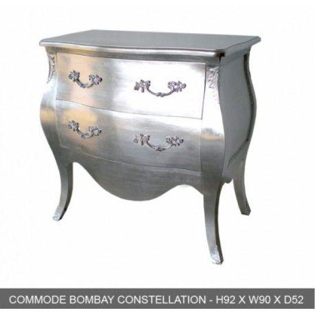 Meubles en bois argente : commode baroque 2 tiroirs bombay argent sur notre magasin déco paris
