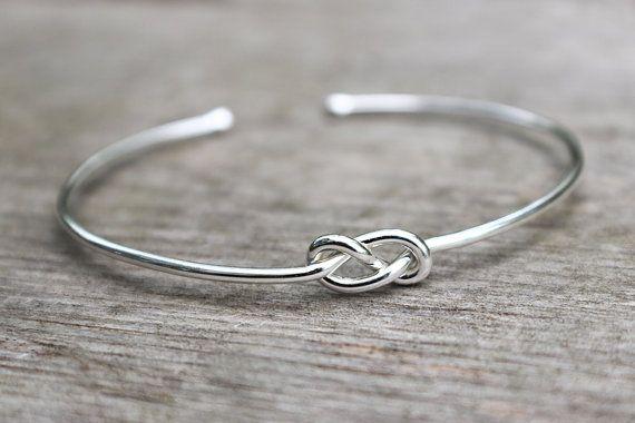 Sterling Silber Armband Brautjungfer, Infinity Armband, Brautjungfer Schmuck Set oder Einzel, binden den Knoten Armband, Bridesmaid Gift
