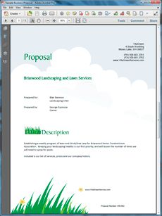 Lawn Care and Landscaping Services Proposal - Create your own custom proposal using the full version of this completed sample as a guide with any Proposal Pack. Hundreds of visual designs to pick from or brand with your own logo and colors. Available only from ProposalKit.com (come over, see this sample and Like our Facebook page to get a 20% discount)
