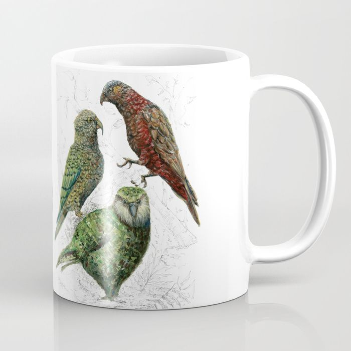 Buy Three native parrots of New Zealand Coffee Mug by emiliegeant. Worldwide shipping available at Society6.com. Just one of millions of high quality products available.