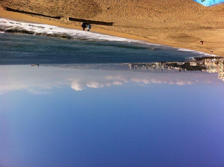 Viña del Mar, vista hacia Valparaíso, Chile. Iphone mmm.