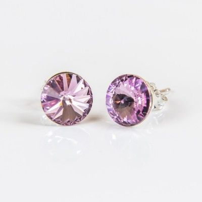 Swarovski Rivoli Earrings 6mm Violet  Dimensions: length:1,4cm stone size: 6mm Weight ~ 0,70g ( 1 pair ) Metal : sterling silver ( AG-925) Stones: Swarovski Elements 1122 SS39 ( 1122 6mm ) Colour: Violet 1 package = 1 pair Price 7.49 PLN( about`2 EUR)