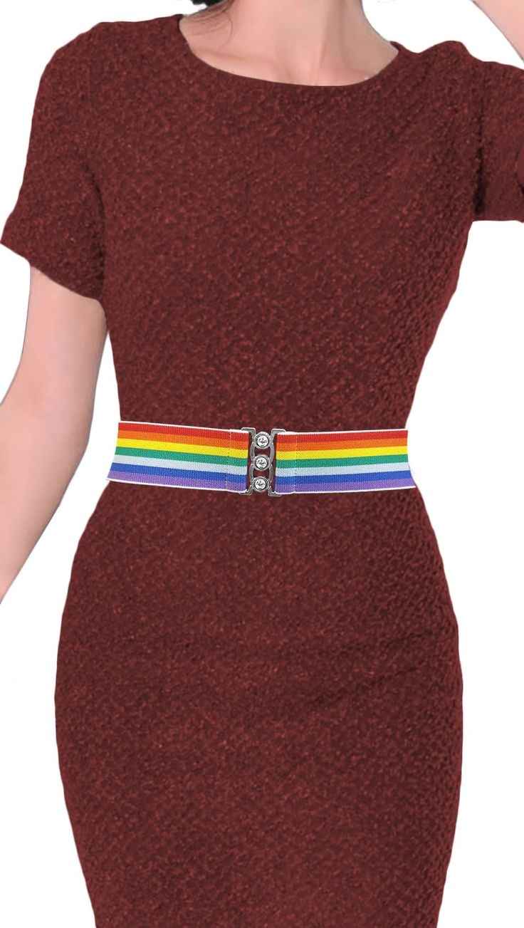 NEW ARRIVAL - Luna Sosano's 2 Inch Retro Elastic Cinch Belt - Rainbow