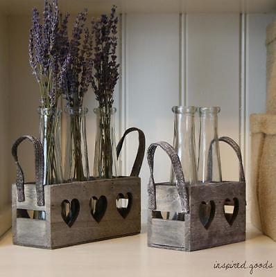 Vintage Style Glass Bottle Flower Vases w Wooden Hearts Box Shabby Chic Wedding