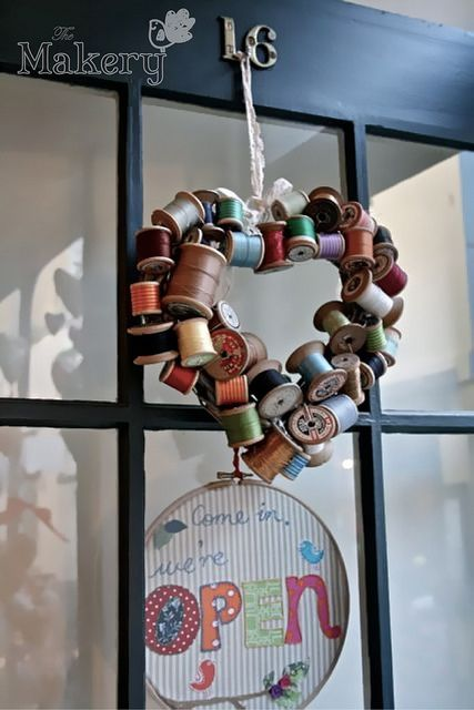 Clever! Heart Spool Wreath by the_makery, via Flickr