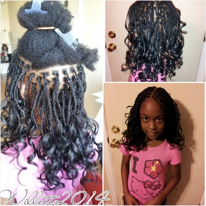 Kids Box braids with pony hair.