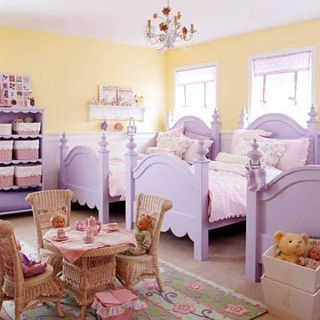 Sister Act - Three lilac twin beds are dressed with a mixture of florals, dots, and delicate stripes for cottage charm for three lucky little girls. Discover more kids room decorating and organizing tips and ideas @ http://kidsroomdecorating.net