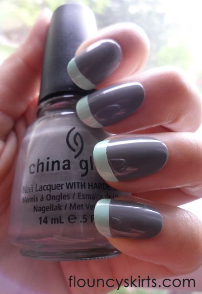 Grey + Mint french manicure...my next nail design to try. :-)