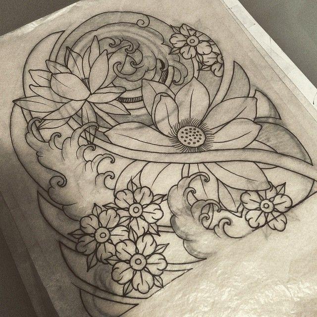 Japanese Flower Line Drawing : De bedste idéer inden for japanese flower tattoo på