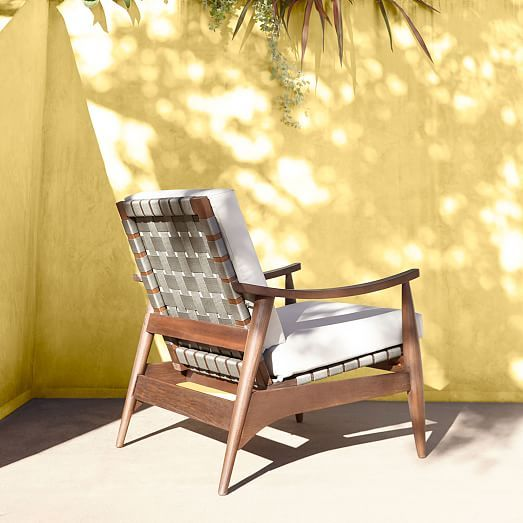 Miraculous Mid Century Outdoor Show Wood Lounge Chair West Elm Squirreltailoven Fun Painted Chair Ideas Images Squirreltailovenorg