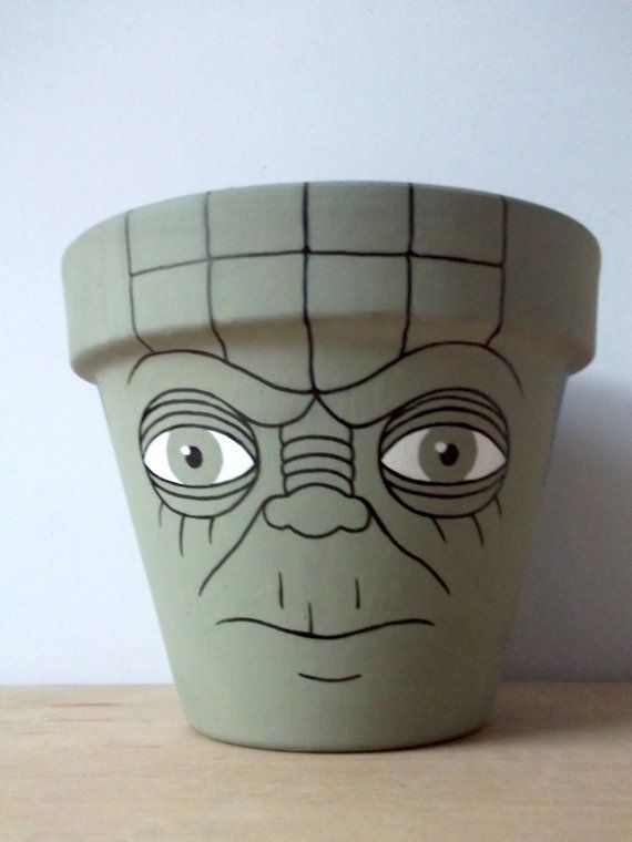 Yoda Star Wars Hand Painted Flower Pot by GingerPots on Etsy, $24.00