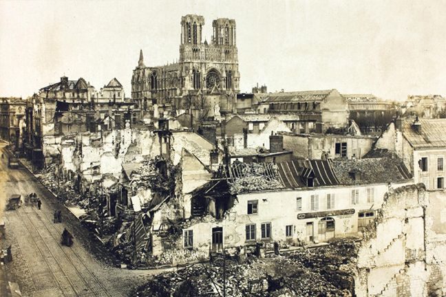 The ruins of Reims cathedral