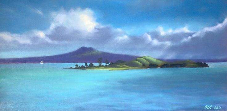 Escape from the storm, sailing by Browns island and Rangitoto.
