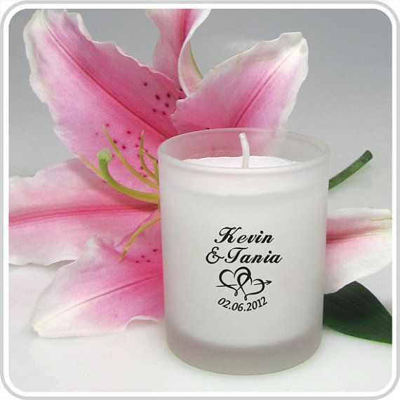 Personalised Wedding Favour Candles Individually Wrapped: 50 X Personalised Wedding Frosted Glass Candle Bomboniere