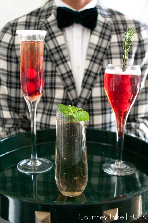 FOLK New Years Eve Champagne Drinks Trio - Cherry Bomb, Champagne Mojito & Raspberry Champagne Fizz.