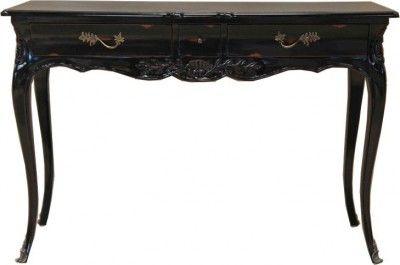Casa Padrino Barock Konsolentisch Antik Stil Schwarz mit 3 Schubladen 120 cm - Konsole Schrank Kommode Konsolen