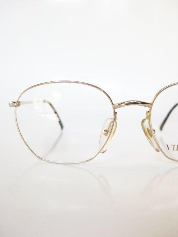 Gold Metal Eyeglasses Frame Vintage Glasses 1980s Oval Womens Ladies ...