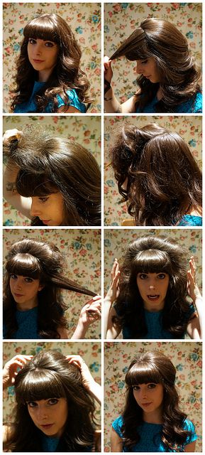 Half-Up Bouffant Tutorial...can't pull off those bangs but man I love this style!!
