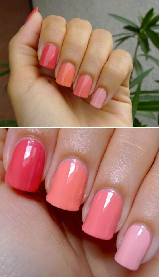 NAIL POLISH :: Peach & Melon Cremes :: L to R: Essie Cute As A Button, Essie Haute As Hello, Essie Tart Deco, Essie Van D´Go (2 coats each)