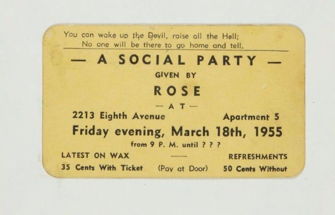 You are invited to a Harlem Rent Party circa 1944 business card
