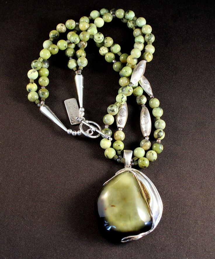 Green Amber and Sterling Silver Pendant with 2 Strands of British Columbia Jade, Czech Glass and Stamped Sterling Silver Beads