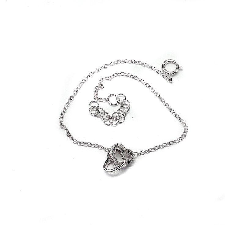 βραχιόλι καρδιές ασήμι 925
