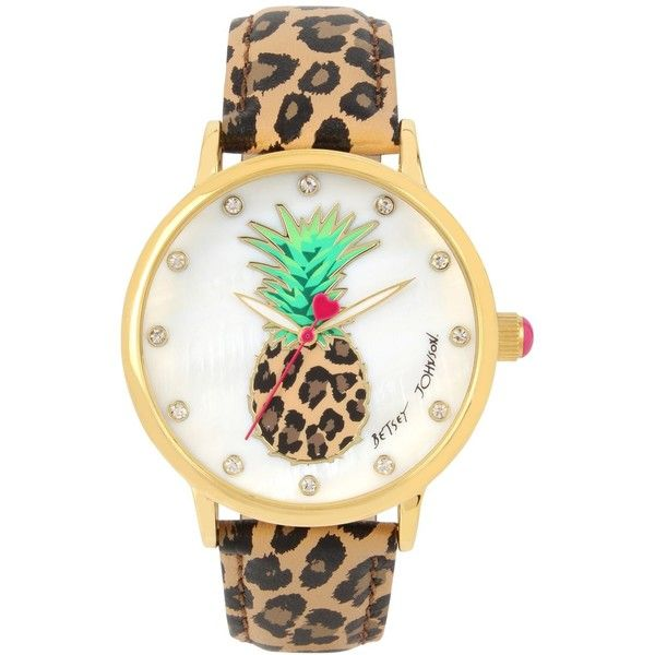 Betsey Johnson Women's Brown Leopard Printed Leather Strap Watch 42mm... (751.950 IDR) ❤ liked on Polyvore featuring jewelry, watches, brown, brown leather strap watches, betsey johnson jewellery, leopard watches, leather strap watches and brown watches